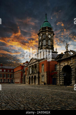 Fantastic evening of The Bedford Tower in the hall of the Dublin Castle. Popular landmark in the capital of Ireland - Stock Photo