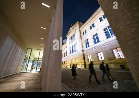 Night view of exterior of James Simon Galerie and Neues museum at Museum Island , Museumsinsel in Mitte Berlin, Germany, Architect David Chipperfield. - Stock Photo