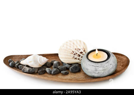 Maritime table decoration and white background - Stock Photo
