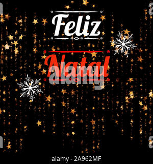 Illustration with 'Feliz Natal' written in Portuguese language, with stars and decorations. Christmas model for web, wallpaper, digital graphics - Stock Photo