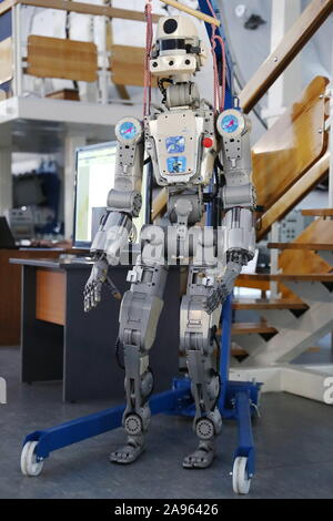 Zvyozdny Gorodok, Russia. 13th Nov 2019. The humanoid robot Fedor (Skybot F-850) on display at the 13th Manned Space Flights international conference at Yuri Gagarin State Scientific Research-and-Testing Cosmonaut Training Center (GCTC) in Zvyozdny Gorodok , Moscow Region, Russia; the conference is organised biannually by Gagarin Cosmonaut Training Center with the support of Roscosmos Corporation to discuss manned spacecraft operation, the selection and training of cosmonauts (astronauts), in-flight activities and post-flight rehabilitation. Credit: TASS/Alamy Live News - Stock Photo