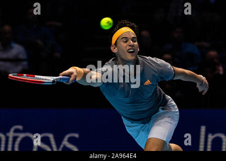 London, UK. 12th Nov, 2019. Dominic Thiem of Austria plays against Novak Djokovic of Serbia on Day four of the Nitto ATP World Tour Finals at The O2 Arena on November 12, 2019 in London, England Credit: Independent Photo Agency/Alamy Live News - Stock Photo