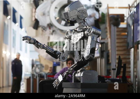 Zvyozdny Gorodok, Russia. 13th Nov 2019. The humanoid robot Fedor (Skybot F-850) on display at the 13th Manned Space Flights international conference at Yuri Gagarin State Scientific Research-and-Testing Cosmonaut Training Center (GCTC) in Zvyozdny Gorodok , Moscow Region, Russia; the conference is organised biannually by Gagarin Cosmonaut Training Center with the support of Roscosmos Corporation to discuss manned spacecraft operation, the selection and training of cosmonauts (astronauts), in-flight activities and post-flight rehabilitation. Credit: ITAR-TASS News Agency/Alamy Live News - Stock Photo