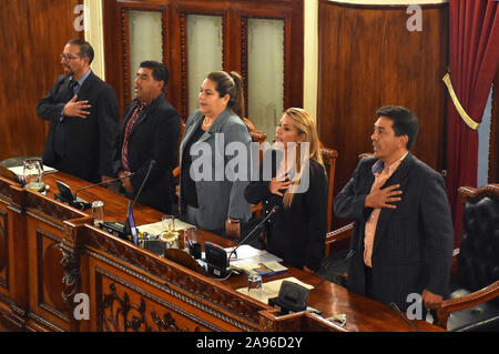 La Paz, Bolivia. 12th Nov, 2019. Jeanine Anez (2nd R) attends an extraordinary session of the Legislative Assembly in La Paz, Bolivia, on Nov. 12, 2019. Opposition senator Jeanine Anez assumed on Tuesday the presidency of the Bolivian Senate, which has allowed her to also proclaim herself interim president of the country. Credit: Meagan Hancock/Xinhua/Alamy Live News - Stock Photo