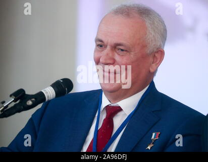 Zvyozdny Gorodok, Russia. 13th Nov 2019. Russian cosmonaut Pavel Vlasov attends the 13th Manned Space Flights international conference at Yuri Gagarin State Scientific Research-and-Testing Cosmonaut Training Center (GCTC) in Zvyozdny Gorodok , Moscow Region, Russia; the conference is organised biannually by Gagarin Cosmonaut Training Center with the support of Roscosmos Corporation to discuss manned spacecraft operation, the selection and training of cosmonauts (astronauts), in-flight activities and post-flight rehabilitation. Credit: ITAR-TASS News Agency/Alamy Live News - Stock Photo