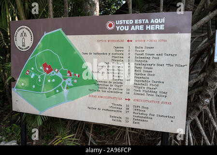 A visitor's map in the grounds of American author, Ernest Hemingway's home, Finca La Vigia in the district of Cojimar, east of Havana in Cuba - Stock Photo