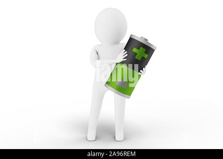 3D Man is holding a battery against white background. 3D rendering. - Stock Photo