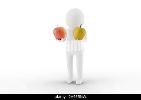 3D Man is holding two apples against white background. Easy to crop for your design needs. 3D rendering. - Stock Photo