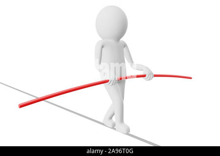 3D Man is trying to walk on a rope with a balancing stick against white background. High quality 3D renders of several poses from 3D man in plain whit - Stock Photo