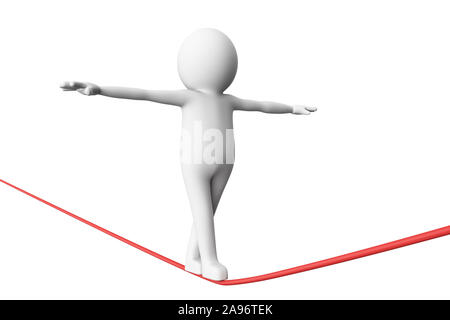 3D Man is trying to walk on a rope in balance against white background. High quality 3D renders of several poses from 3D man in plain white. 3D render - Stock Photo