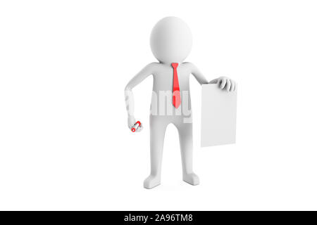 3D Man is reaching a contract with red pen on a white background. High quality 3D renders of several poses from 3D man in plain white. 3D rendering. - Stock Photo