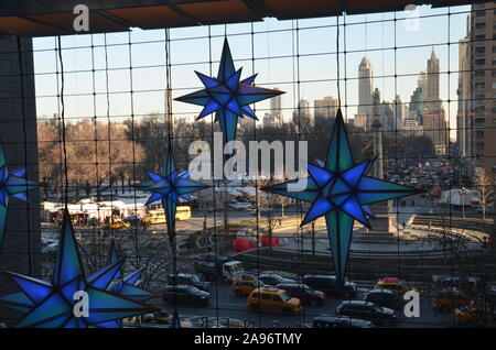 Display of Christmas decorations at Time Warner Center Shops at Columbus Circle in New York City. - Stock Photo