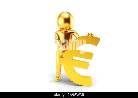 Golden 3D Man is holding Euro sign against white background. 3D rendering. - Stock Photo