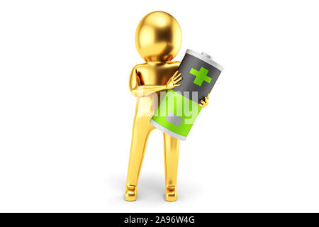 Golden 3D Man is holding a battery against white background. 3D rendering. - Stock Photo