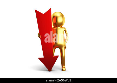 Golden 3D Man is holding arrow sign against white background. 3D rendering. - Stock Photo