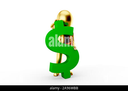 Golden 3D Man is holding an US Dollar sign against white background. 3D rendering. - Stock Photo