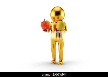 3D Golden Man is holding two apples against white background. 3D rendering. - Stock Photo