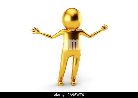 3D Golden Man is having some questions on his mind against white background. 3D rendering. - Stock Photo