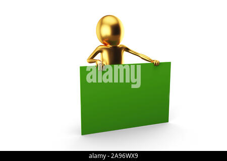 3D Golden Man is holding a big green card against white background. 3D rendering. - Stock Photo