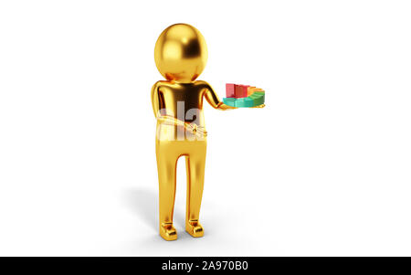 3D Man is holding financial stock market chart against white background. 3D rendering. - Stock Photo