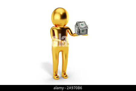 3D Man is holding house shape paper onw us dollars against white background. 3D rendering. - Stock Photo