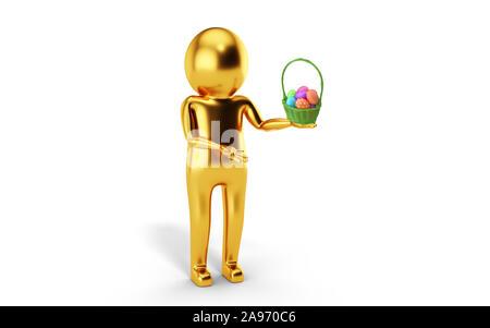 3D Man is holding Easter egg basket against white background. 3D rendering. - Stock Photo