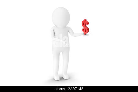 3D Man is holding American Dollar currency sign against white background. 3D rendering. - Stock Photo