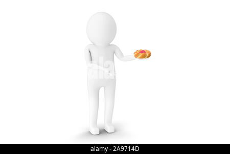 3D Man is holding Easter egg bread against white background. 3D rendering. - Stock Photo