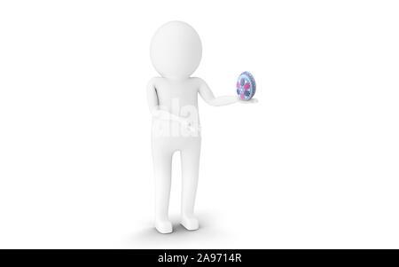 3D Man is holding Easter egg against white background. 3D rendering. - Stock Photo