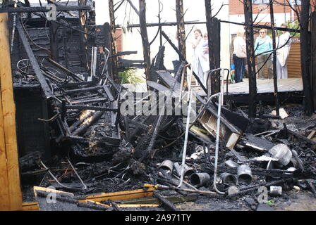 property fire, danger zone, Australian bushfire - Stock Photo