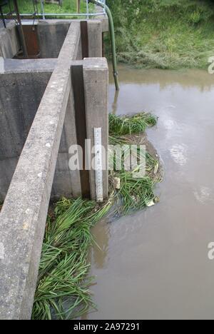 Flooding, sluice gates, South yorkshire - Stock Photo