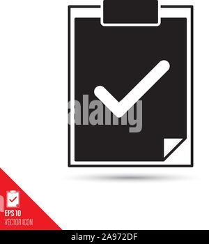Check mark on document on clipboard glyph icon. Success symbol vector illustration. - Stock Photo
