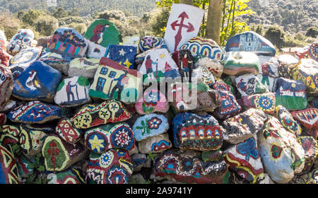 Decorated stones in the camino of Santiago in the north of Spain. - Stock Photo