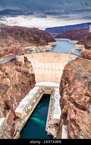 Hoover Dam on the Colorado River, the USA - Stock Photo
