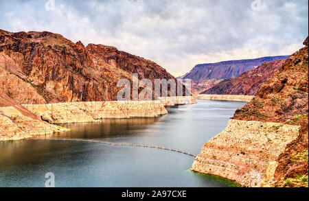 Lake Mead above Hoover Dam in the United States - Stock Photo