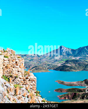 Lake located in the town of Zahara de la Sierra in the Spanish province of Cadiz in a sunny day - Stock Photo
