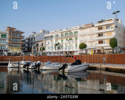 Cala Bona, Majorca ,Spain, October 16, 2019, View of Hotel Cala Bona from the busy little marina situated in front of the hotel. - Stock Photo