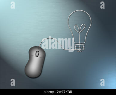 PC mouse with cord in shape of light bulb. 3D rendering - Stock Photo