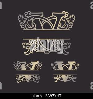 Alphabet Split Monograms Split Letter Monogram Alphabet Frame Font Laser Cut Template Initial Monogram Letters Stock Vector Image Art Alamy