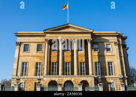 London, UK - February 26th 2019: A view of the Georgian exterior of Apsley House - the home of the 1st Duke of Wellington, located on Hyde Park Corner - Stock Photo