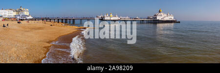 A view of the historic Eastbourne Pier in Eastbourne, East Sussex, UK. - Stock Photo