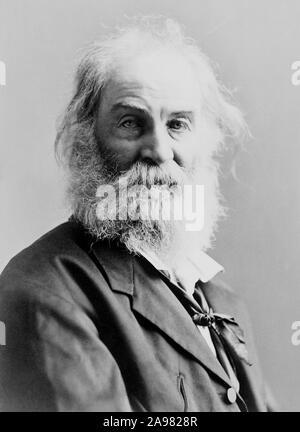 Vintage portrait photo of American poet, essayist and journalist Walt Whitman (1819 – 1892). Photo circa 1885 by Gurney. - Stock Photo