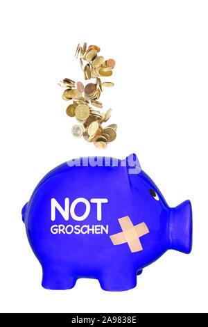 Piggy Bank, Sparschwein, Sparen, Vorsorge, Notgroschen, Urlaubskasse, Banknoten, Münzen, Notgroschen, - Stock Photo