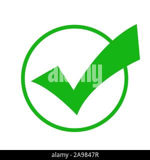 Check mark green colored in the circle. Vector - Stock Photo