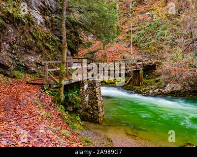 Famous landmark wooden bridge footbridge Kamacnik canyon near Vrbovsko in Croatia Europe - Stock Photo