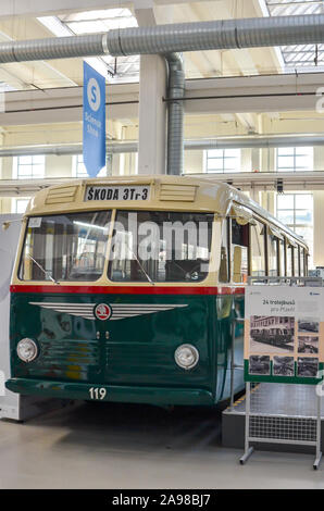 Pilsen, Czech Republic - Oct 28, 2019: Interior exhibitions in the Techmania Science Center. Old trolleybus as one of the exhibits. Center explaining scientific principles to kids by game. - Stock Photo