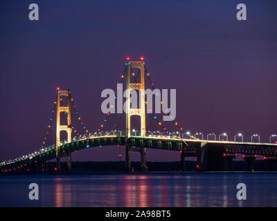 Mackinac Bridge at dusk, Straits State Park, St. Ignace, Upper Peninsula, Michigan. - Stock Photo