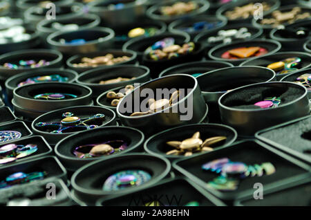Fidget spinners on display on a market - Stock Photo