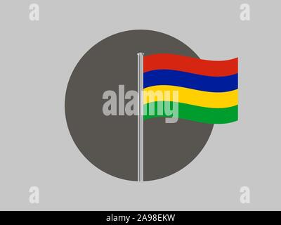 National flag of Republic of Mauritius . original colors and proportion. Simply vector illustration, from countries flag set. - Stock Photo