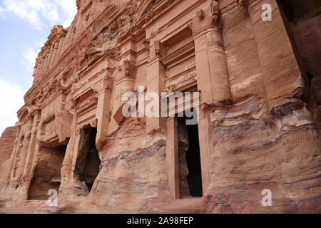 Palace Tomb (Qabr Al Qasr), Royal Tombs, Treasury Viewpoint Trail, Petra, Wadi Musa, Ma'an Governorate, Jordan, Middle East - Stock Photo